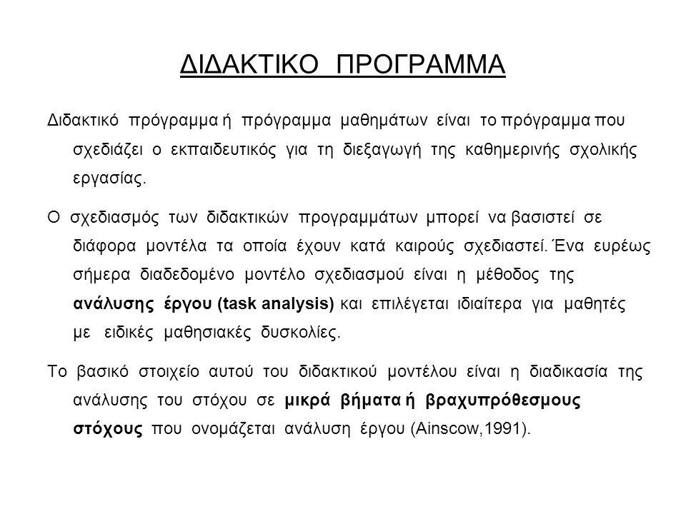 ΔΙΔΑΚΤΙΚΟ ΠΡΟΓΡΑΜΜΑ