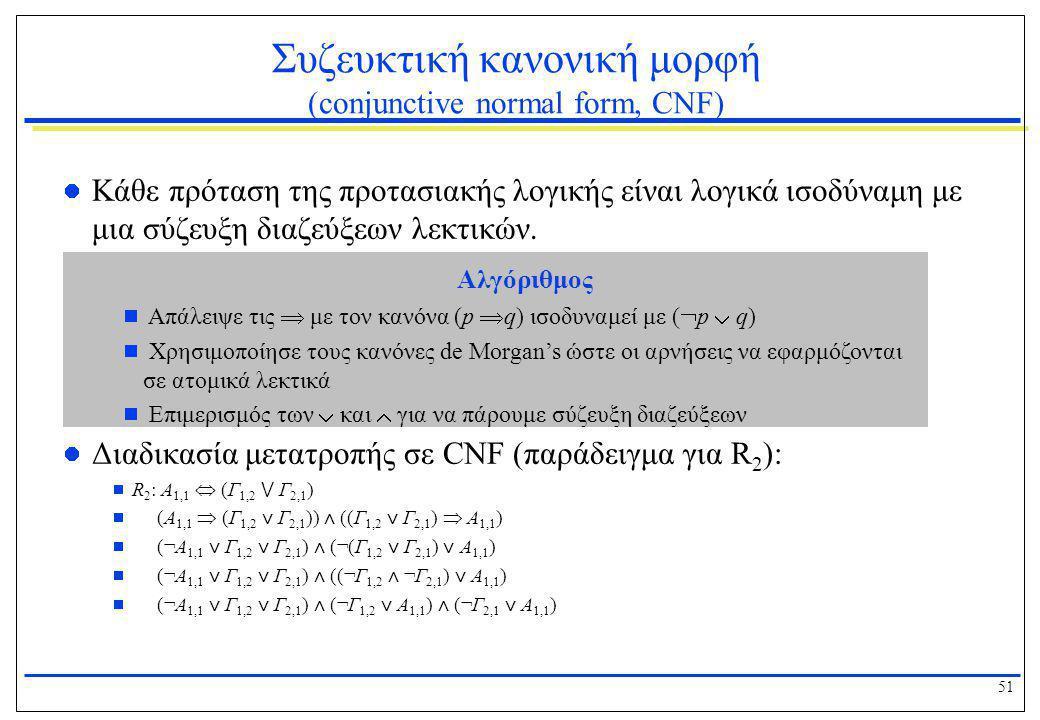 Συζευκτική κανονική μορφή (conjunctive normal form, CNF)