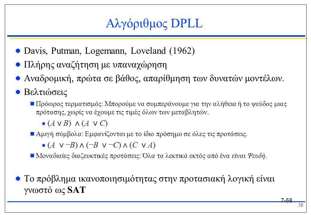 Αλγόριθμος DPLL Davis, Putman, Logemann, Loveland (1962)