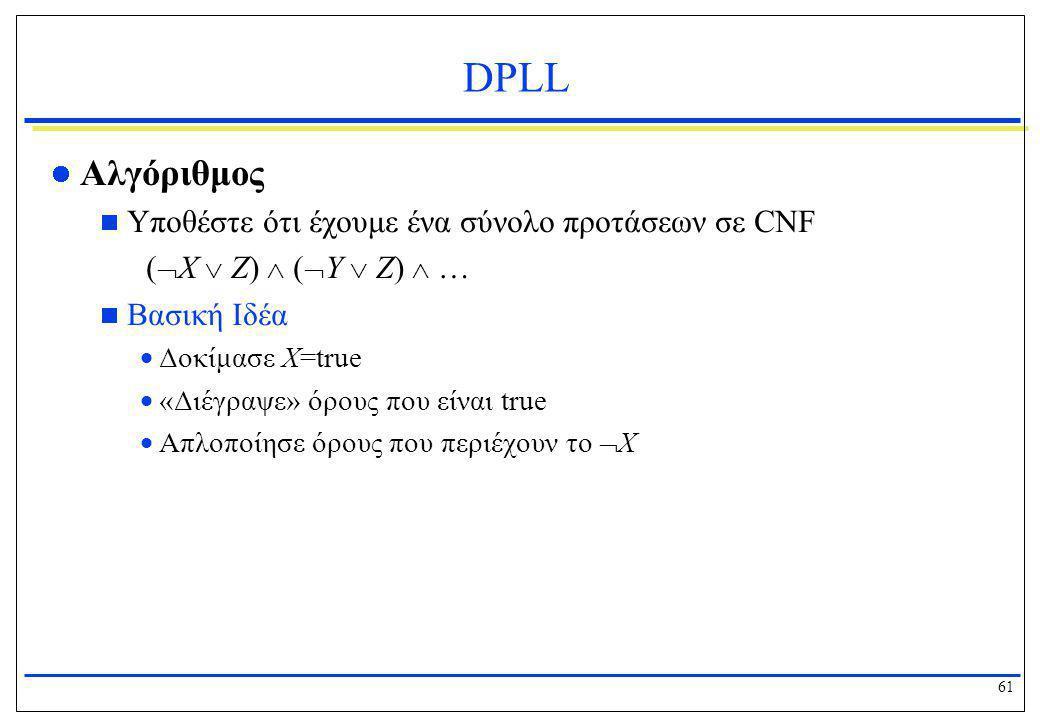 DPLL Αλγόριθμος (X  Z)  (Y  Z)  …
