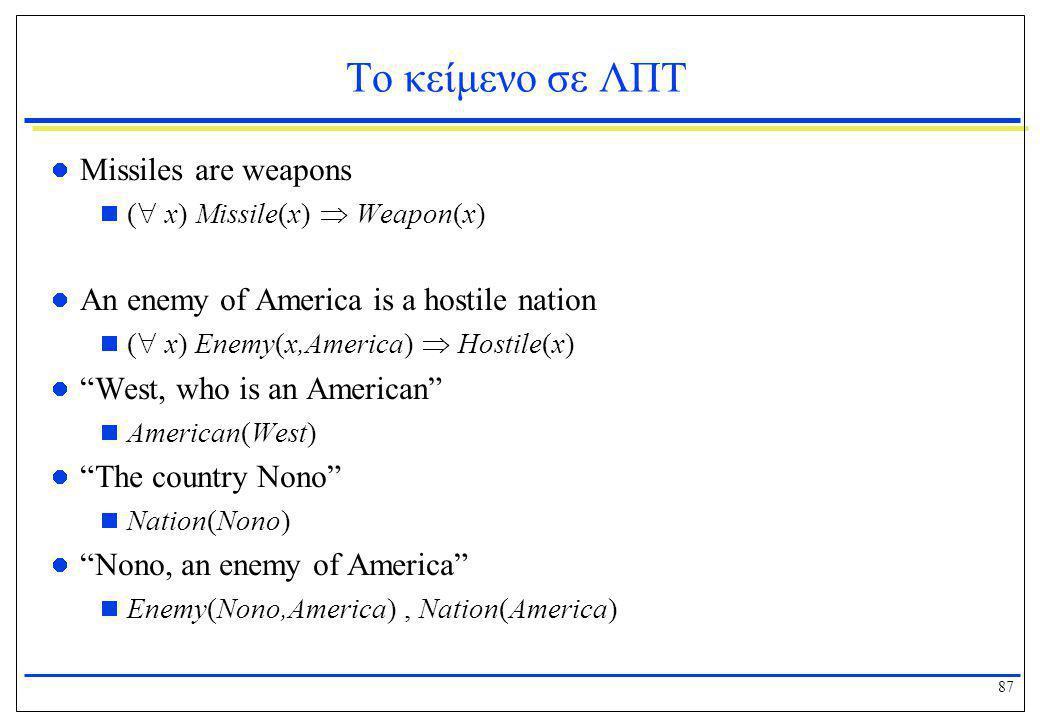 Το κείμενο σε ΛΠΤ Missiles are weapons