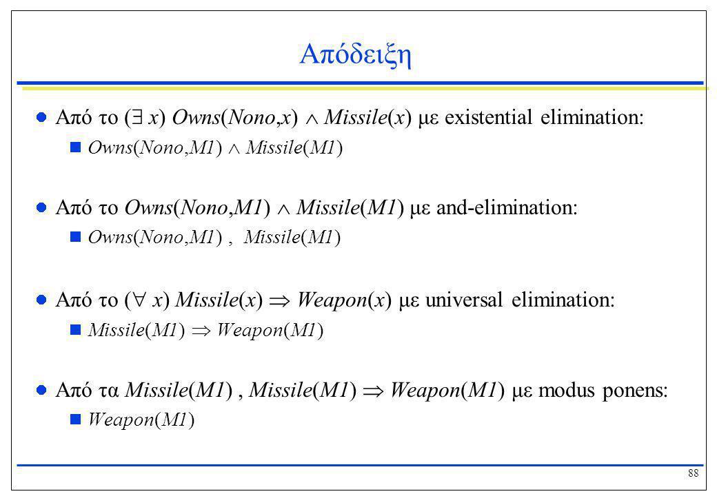 Απόδειξη Από το ( x) Owns(Nono,x)  Missile(x) με existential elimination: Owns(Nono,M1)  Missile(M1)
