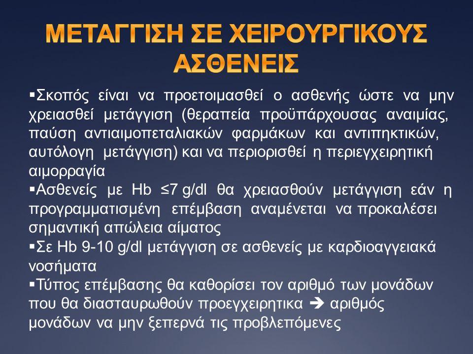 ΜΕΤΑΓΓΙΣΗ ΣΕ ΧΕΙΡΟΥΡΓΙΚΟΥΣ ΑΣΘΕΝΕΙΣ