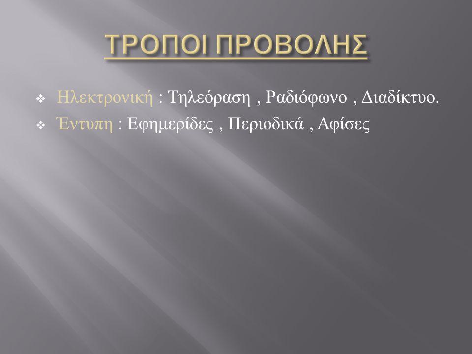 ΤΡΟΠΟΙ ΠΡΟΒΟΛΗΣ Ηλεκτρονική : Τηλεόραση , Ραδιόφωνο , Διαδίκτυο.