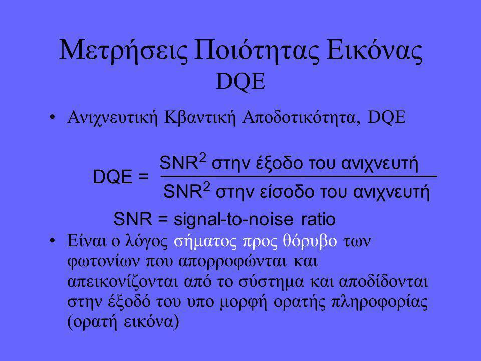 Μετρήσεις Ποιότητας Εικόνας DQE