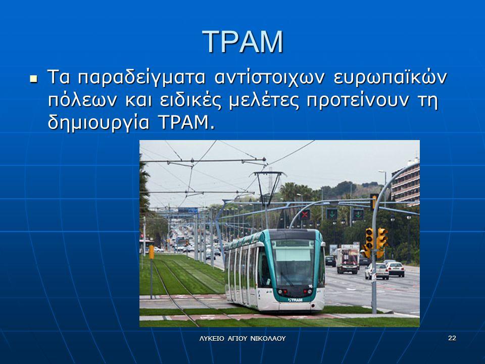 TΡΑΜ Τα παραδείγματα αντίστοιχων ευρωπαϊκών πόλεων και ειδικές μελέτες προτείνουν τη δημιουργία ΤΡΑΜ.