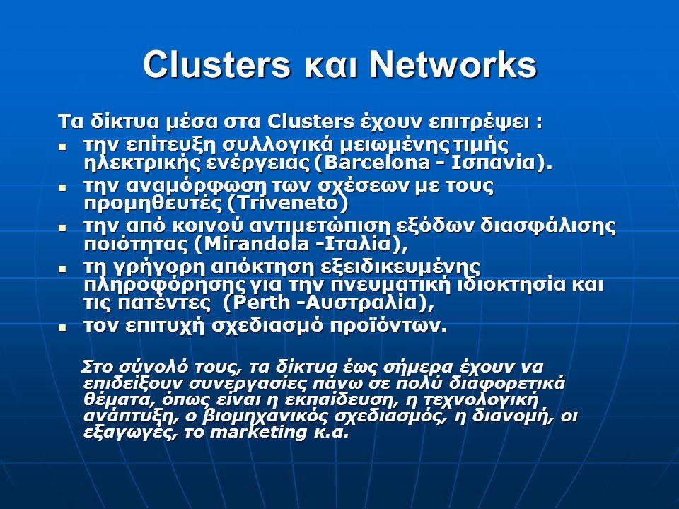Clusters και Networks Τα δίκτυα μέσα στα Clusters έχουν επιτρέψει :