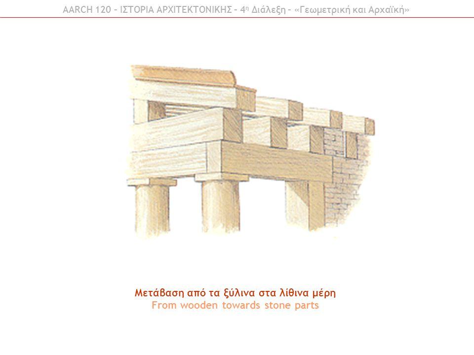 Μετάβαση από τα ξύλινα στα λίθινα μέρη From wooden towards stone parts