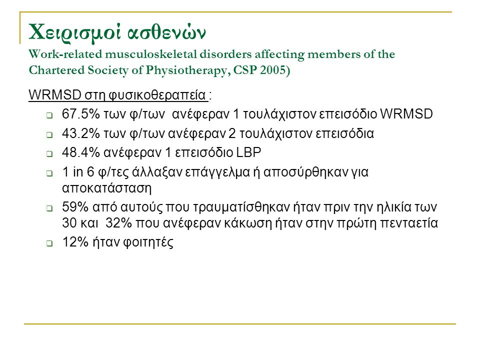 Χειρισμοί ασθενών Work-related musculoskeletal disorders affecting members of the Chartered Society of Physiotherapy, CSP 2005)