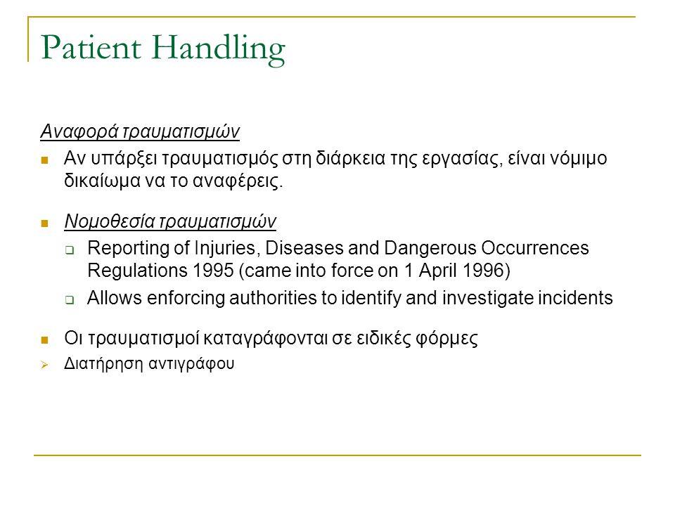 Patient Handling Αναφορά τραυματισμών