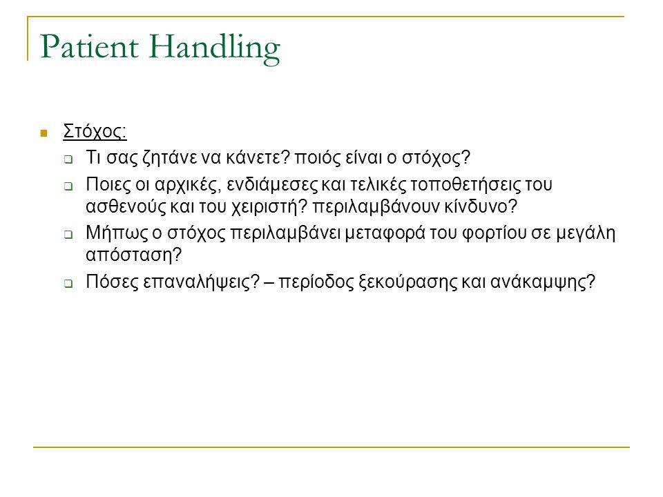 Patient Handling Στόχος:
