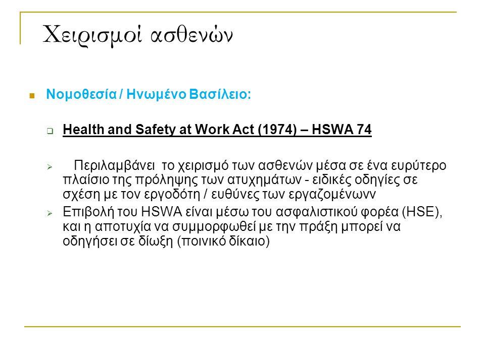 Χειρισμοί ασθενών Νομοθεσία / Ηνωμένο Βασίλειο: