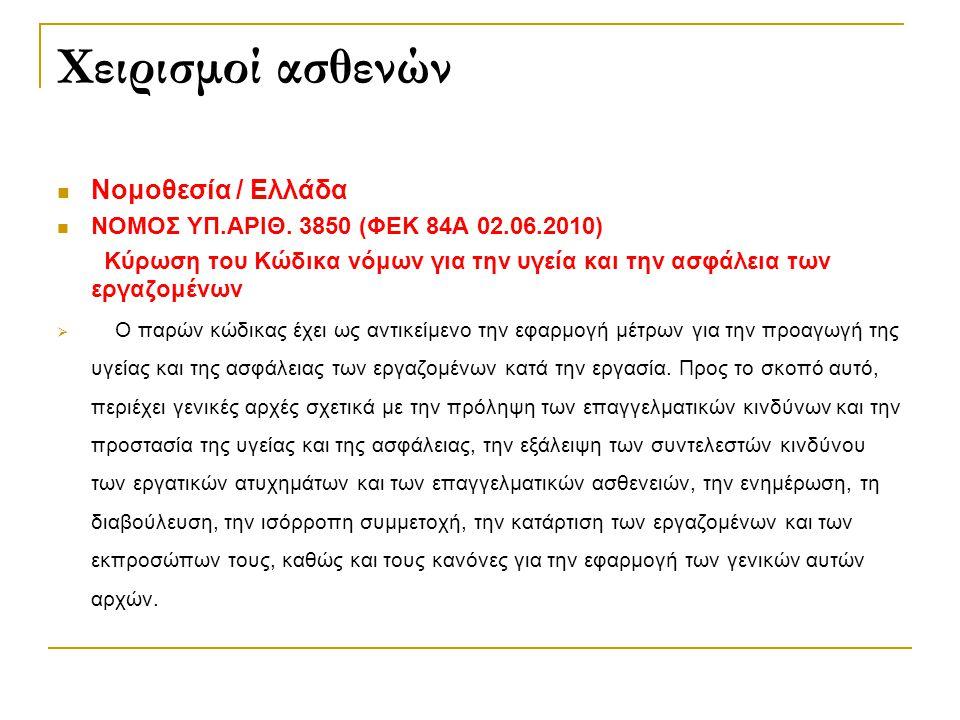 Χειρισμοί ασθενών Νομοθεσία / Ελλάδα