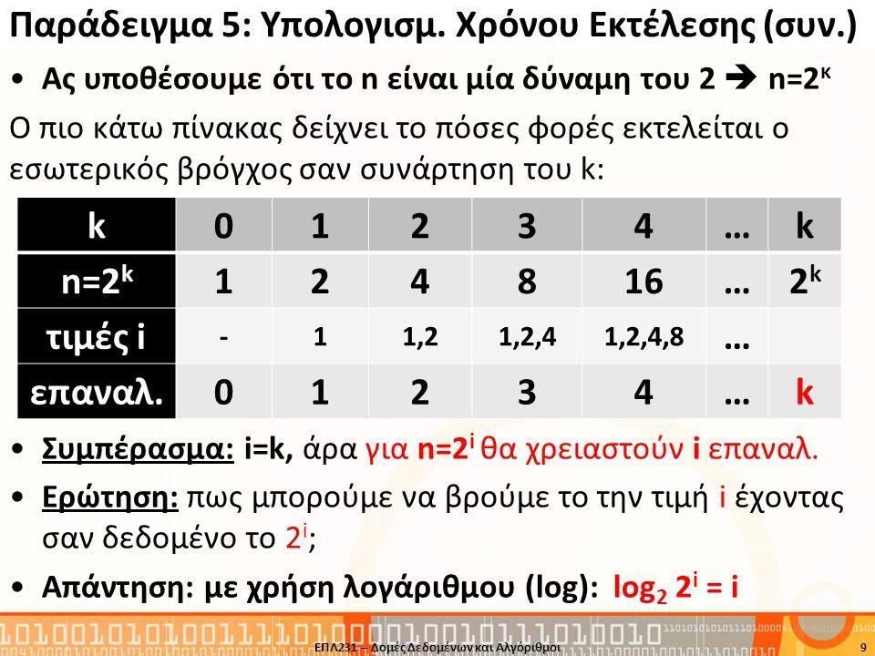 Παράδειγμα 5: Υπολογισμ. Χρόνου Εκτέλεσης (συν.)