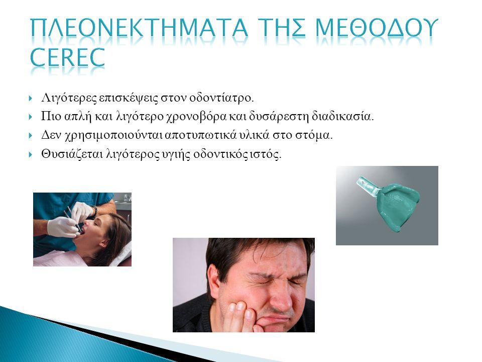 ΠΛΕΟΝΕΚΤΗΜΑΤΑ ΤΗΣ ΜΕΘΟΔΟΥ CEREC