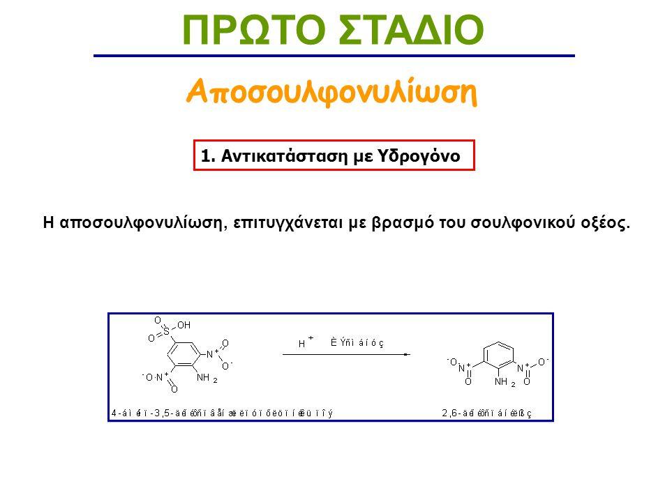 ΠΡΩΤΟ ΣΤΑΔΙΟ Αποσουλφονυλίωση 1. Αντικατάσταση με Υδρογόνο