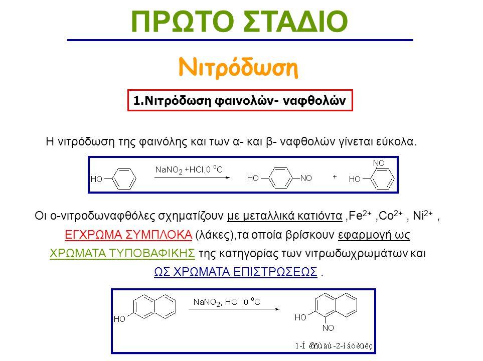 ΠΡΩΤΟ ΣΤΑΔΙΟ Νιτρόδωση 1.Νιτρόδωση φαινολών- ναφθολών