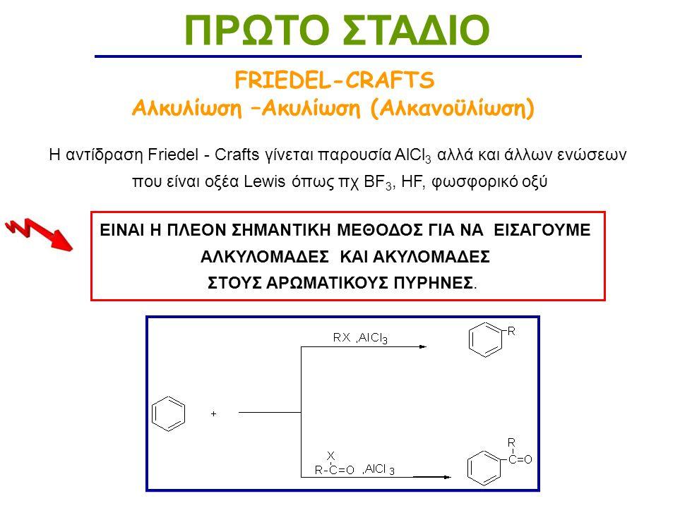ΠΡΩΤΟ ΣΤΑΔΙΟ FRIEDEL-CRAFTS Αλκυλίωση –Ακυλίωση (Αλκανοϋλίωση)