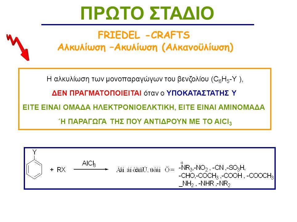 ΠΡΩΤΟ ΣΤΑΔΙΟ FRIEDEL -CRAFTS Αλκυλίωση –Ακυλίωση (Αλκανοϋλίωση)