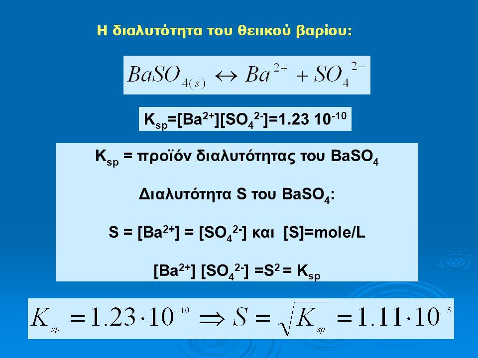 Ksp = προϊόν διαλυτότητας του BaSO4 Διαλυτότητα S του BaSO4: