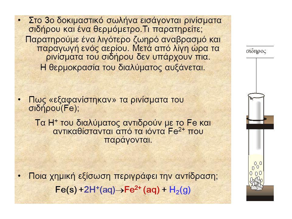 Fe(s) +2H+(aq)Fe2+ (aq) + H2(g)