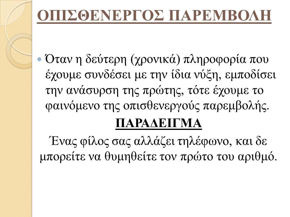 ΟΠΙΣΘΕΝΕΡΓΟΣ ΠΑΡΕΜΒΟΛΗ