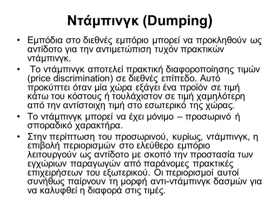 Ντάμπινγκ (Dumping) Εμπόδια στο διεθνές εμπόριο μπορεί να προκληθούν ως αντίδοτο για την αντιμετώπιση τυχόν πρακτικών ντάμπινγκ.