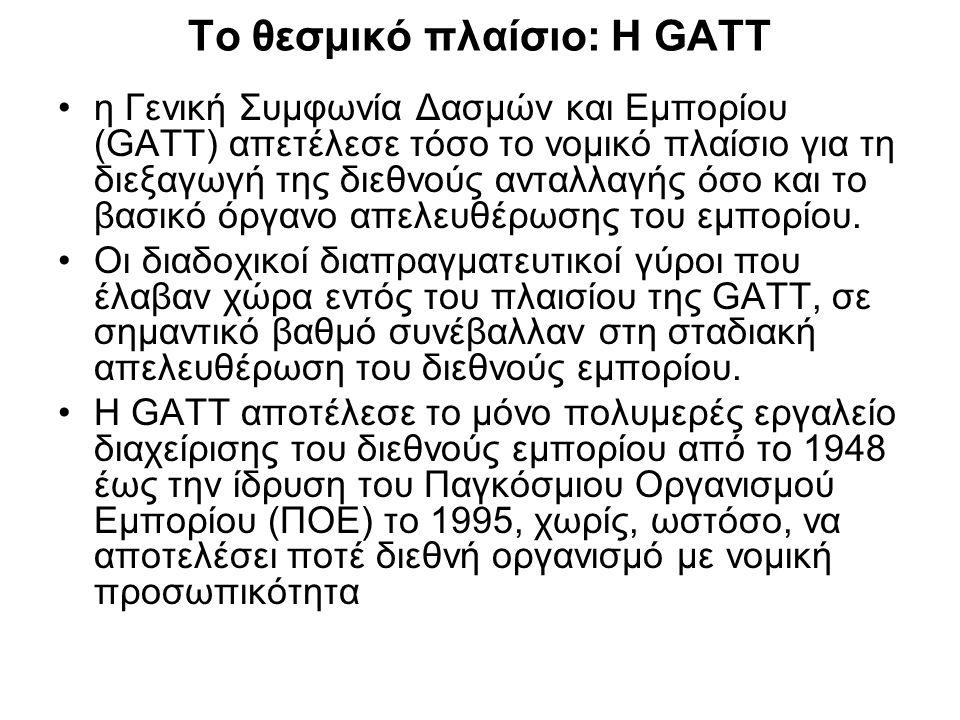 Το θεσμικό πλαίσιο: Η GATT