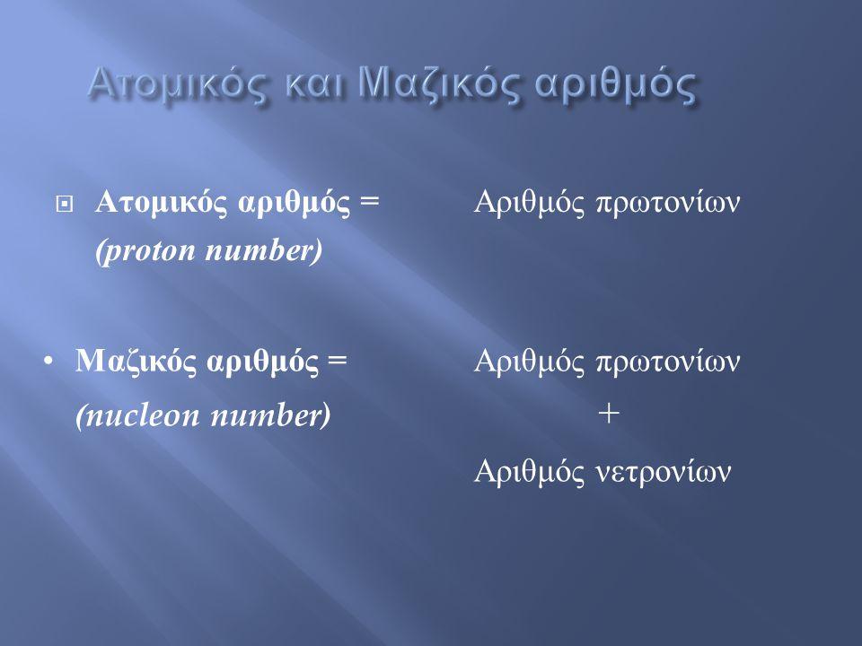 Ατομικός και Μαζικός αριθμός