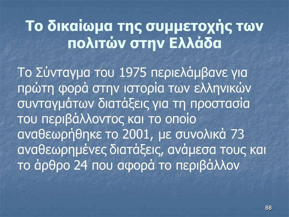 Το δικαίωμα της συμμετοχής των πολιτών στην Ελλάδα