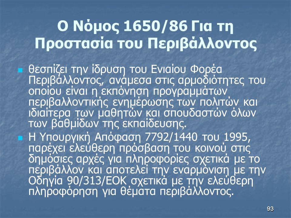 Ο Νόμος 1650/86 Για τη Προστασία του Περιβάλλοντος