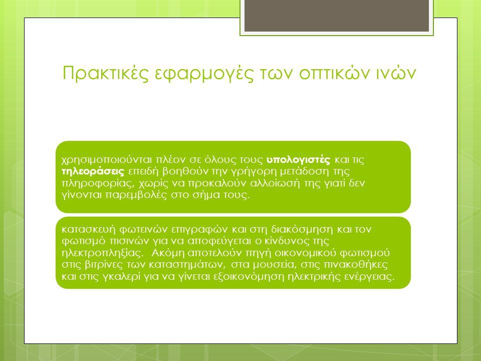 Πρακτικές εφαρμογές των οπτικών ινών