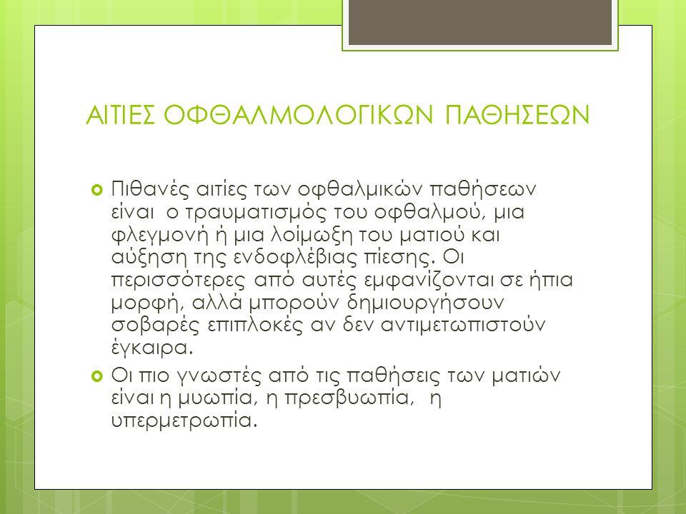 ΑΙΤΙΕΣ ΟΦΘΑΛΜΟΛΟΓΙΚΩΝ ΠΑΘΗΣΕΩΝ
