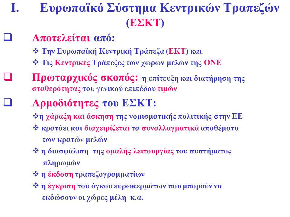 I. Ευρωπαϊκό Σύστημα Κεντρικών Τραπεζών (ΕΣΚΤ)