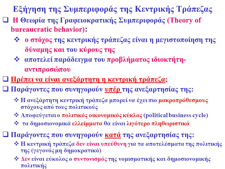 Εξήγηση της Συμπεριφοράς της Κεντρικής Τράπεζας