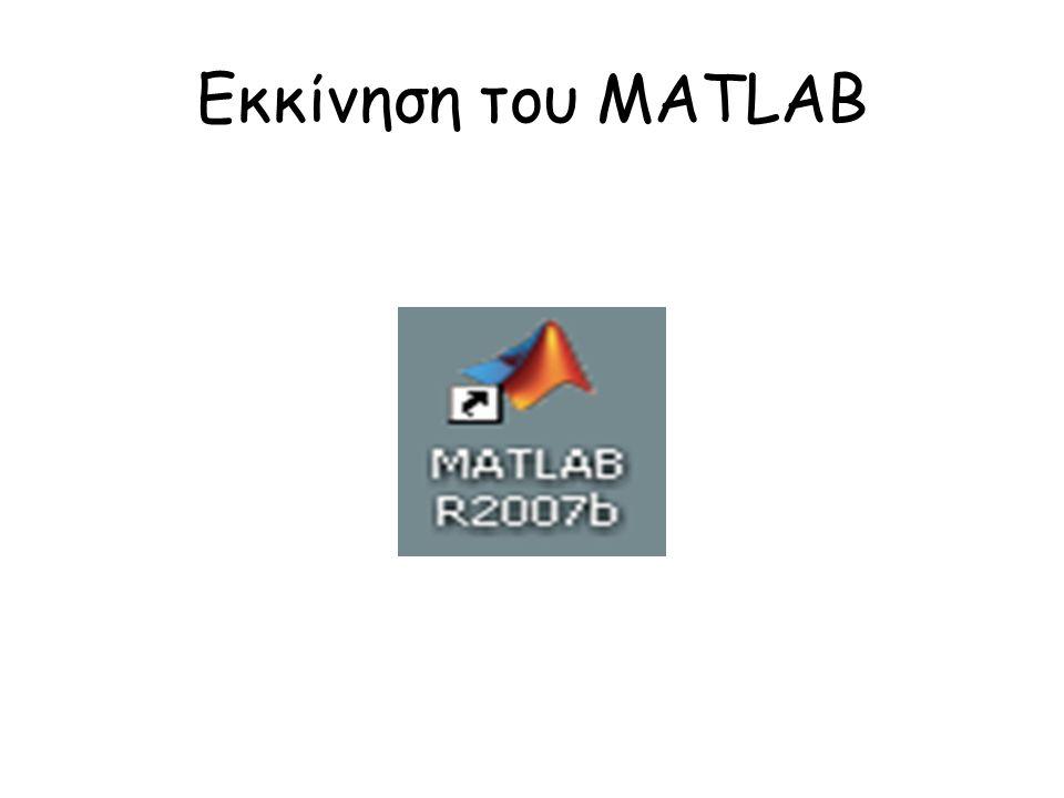 Εκκίνηση του MATLAB