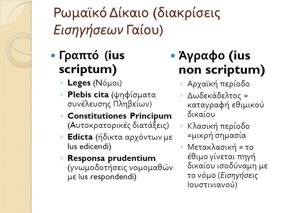 Ρωμαϊκό Δίκαιο (διακρίσεις Εισηγήσεων Γαίου)