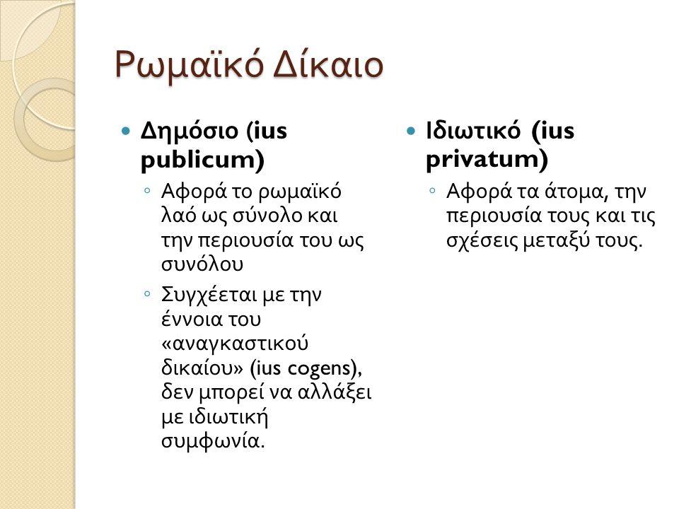 Ρωμαϊκό Δίκαιο Δημόσιο (ius publicum) Ιδιωτικό (ius privatum)