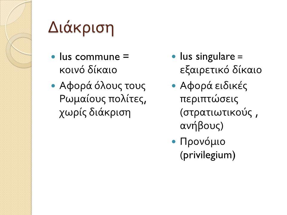 Διάκριση Ius commune = κοινό δίκαιο