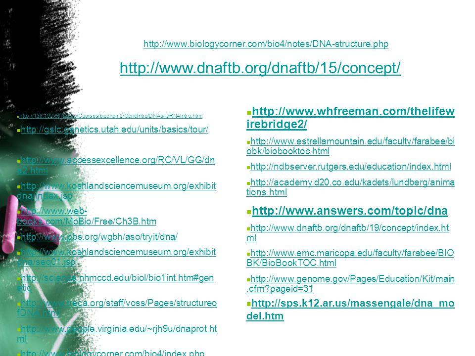 http://www.biologycorner.com/bio4/notes/DNA-structure.php http://www.dnaftb.org/dnaftb/15/concept/ http://www.whfreeman.com/thelifewirebridge2/