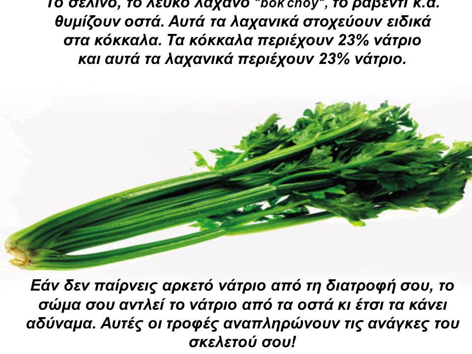 Το σέλινο, το λευκό λάχανο bok choy , το ραβέντι κ.ά.