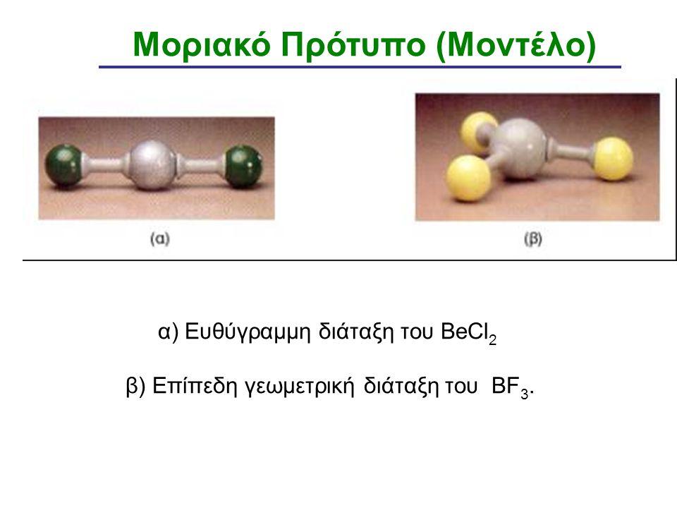 α) Ευθύγραμμη διάταξη του BeCl2 β) Επίπεδη γεωμετρική διάταξη του BF3.