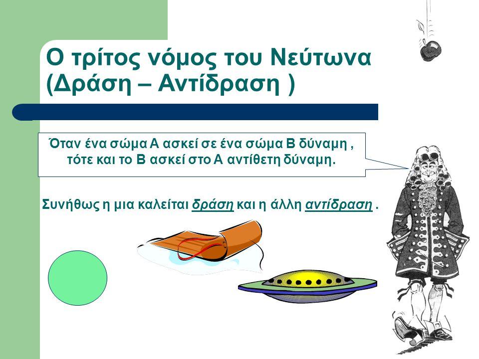 Ο τρίτος νόμος του Νεύτωνα (Δράση – Αντίδραση )