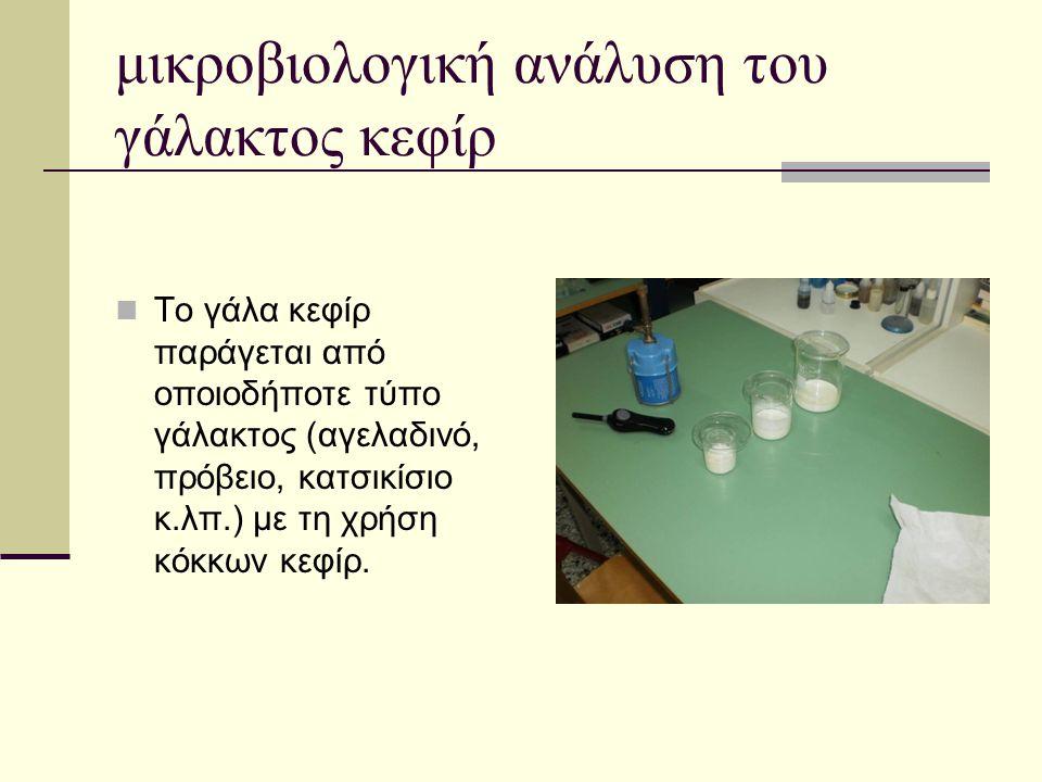 μικροβιολογική ανάλυση του γάλακτος κεφίρ