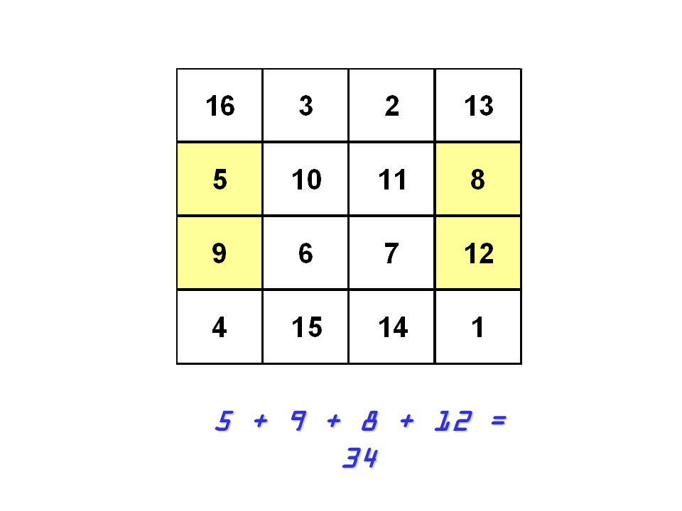 5 + 9 + 8 + 12 = 34