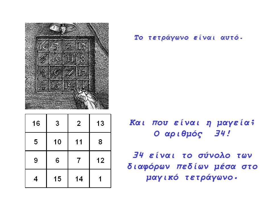 34 είναι το σύνολο των διαφόρων πεδίων μέσα στο μαγικό τετράγωνο.