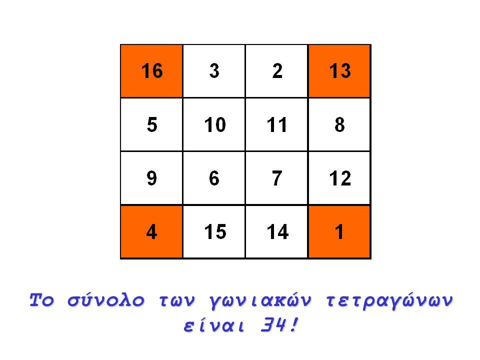 Το σύνολο των γωνιακών τετραγώνων είναι 34!