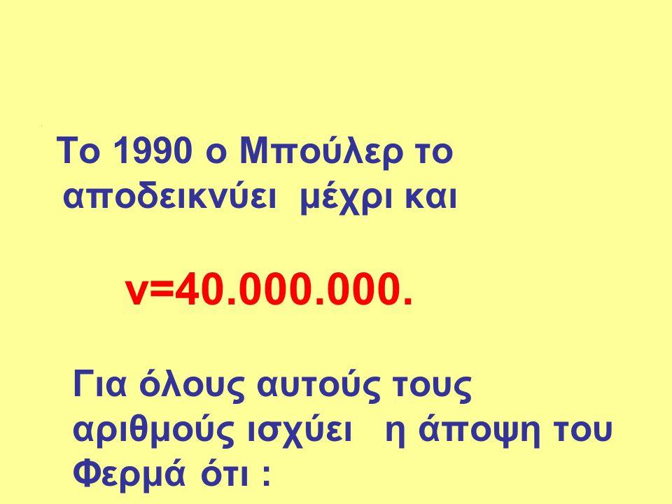 αριθμούς ισχύει η άποψη του Φερμά ότι :