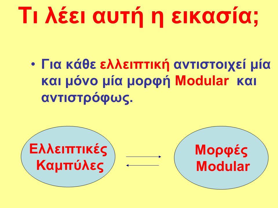 Τι λέει αυτή η εικασία; Για κάθε ελλειπτική αντιστοιχεί μία και μόνο μία μορφή Μοdular και αντιστρόφως.