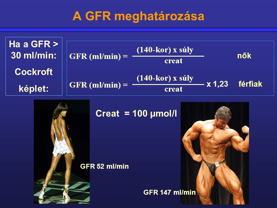 A GFR meghatározása Ha a GFR > 30 ml/min: Cockroft képlet:
